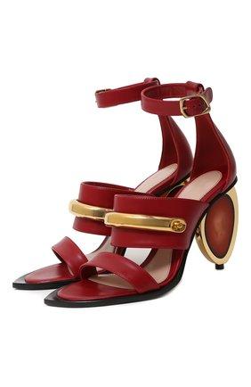 Женские кожаные босоножки ALEXANDER MCQUEEN красного цвета, арт. 633485/WHWQ8   Фото 1