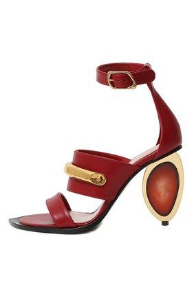 Женские кожаные босоножки ALEXANDER MCQUEEN красного цвета, арт. 633485/WHWQ8   Фото 2