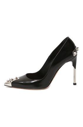 Женская кожаные туфли ALEXANDER MCQUEEN черного цвета, арт. 633504/WHV7B   Фото 2