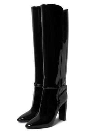 Женские кожаные сапоги SAINT LAURENT черного цвета, арт. 633727/1TV00 | Фото 1