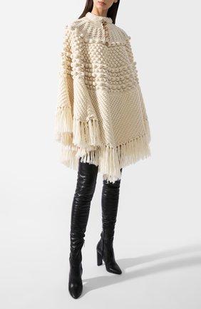 Женская шерстяное пончо SAINT LAURENT белого цвета, арт. 633896/YASB2 | Фото 1