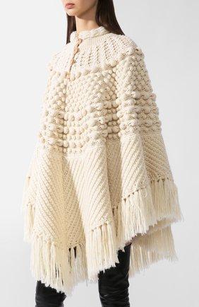 Женская шерстяное пончо SAINT LAURENT белого цвета, арт. 633896/YASB2 | Фото 2