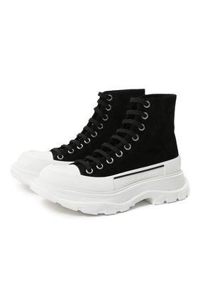 Женские текстильные ботинки ALEXANDER MCQUEEN черного цвета, арт. 633900/WHBGU   Фото 1