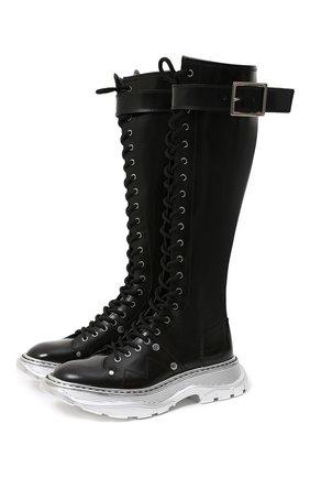 Женские кожаные сапоги ALEXANDER MCQUEEN черного цвета, арт. 633907/WHQSI | Фото 1