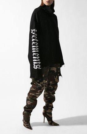 Мужской хлопковый свитер VETEMENTS черного цвета, арт. UAH21KN052/1254 | Фото 2