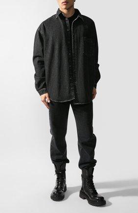Мужская джинсовая рубашка VETEMENTS черного цвета, арт. UAH21SH043/2801 | Фото 1