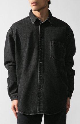 Мужская джинсовая рубашка VETEMENTS черного цвета, арт. UAH21SH043/2801 | Фото 2