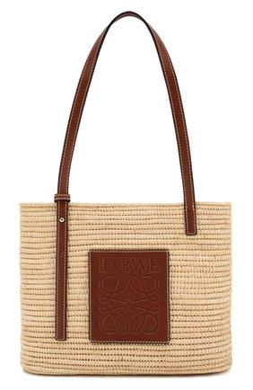 Женский сумка square basket small loewe x paula's ibiza LOEWE бежевого цвета, арт. A223099X02   Фото 1 (Размер: small; Материал: Растительное волокно; Сумки-технические: Сумки-шопперы)
