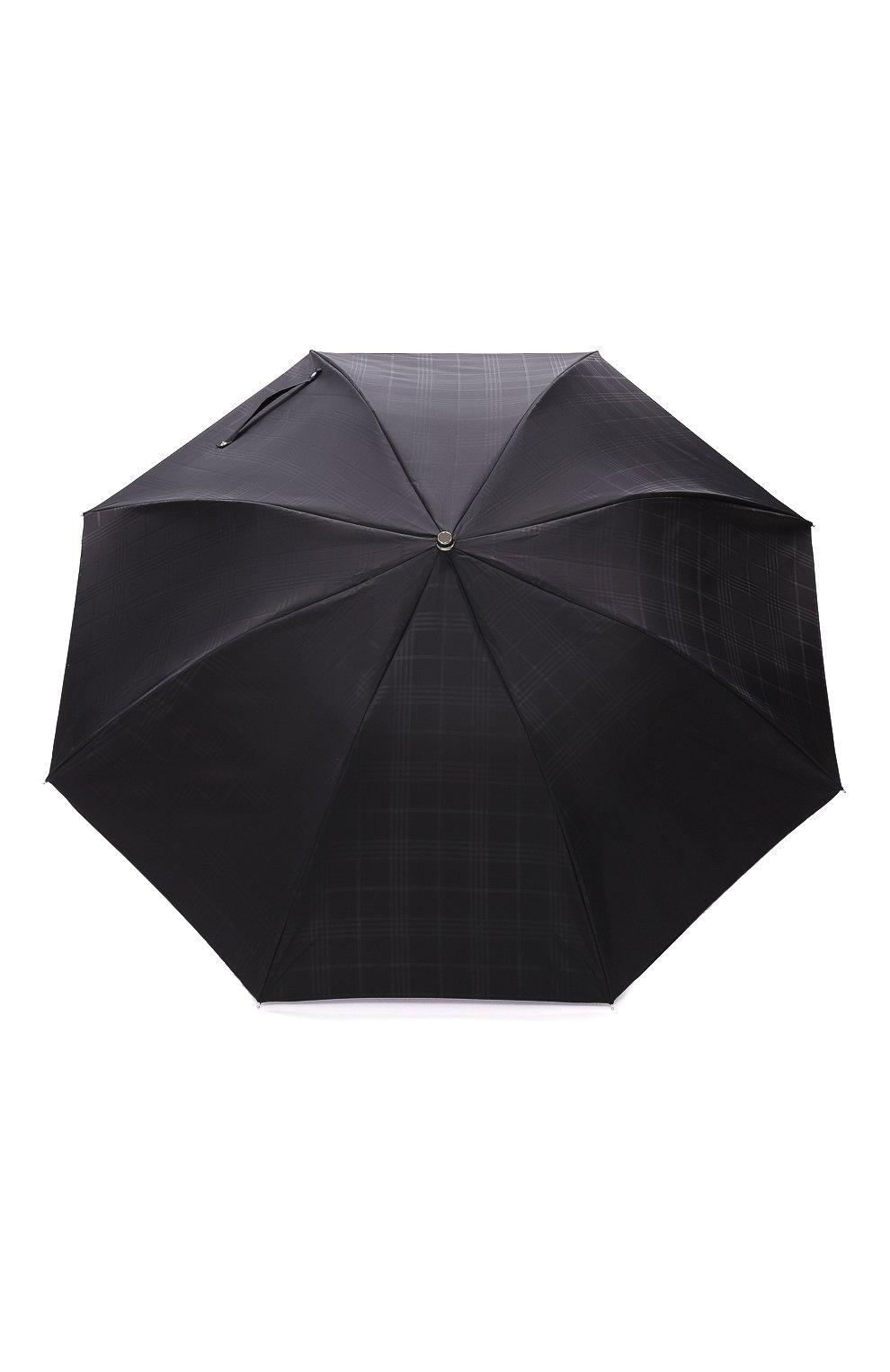 Мужской складной зонт PASOTTI OMBRELLI черного цвета, арт. 64S/RAS0 6434/19/PELLE D0LLAR0 | Фото 1 (Материал: Текстиль, Синтетический материал, Металл)