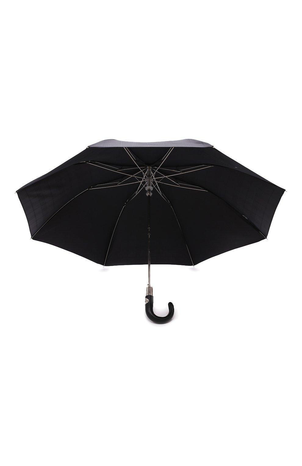 Мужской складной зонт PASOTTI OMBRELLI черного цвета, арт. 64S/RAS0 6434/19/PELLE D0LLAR0 | Фото 3 (Материал: Текстиль, Синтетический материал, Металл)