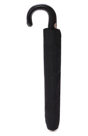 Мужской складной зонт PASOTTI OMBRELLI черного цвета, арт. 64S/RAS0 6434/19/PELLE D0LLAR0 | Фото 4 (Материал: Текстиль, Синтетический материал, Металл)