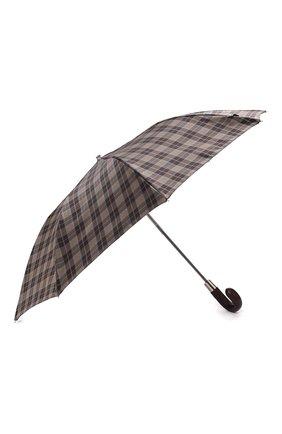 Мужской складной зонт PASOTTI OMBRELLI коричневого цвета, арт. 64S/DIAM0ND/20/PELLE D0LL. | Фото 2