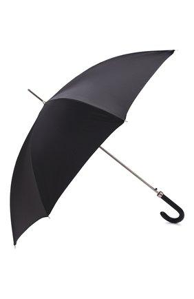 Мужской зонт-трость PASOTTI OMBRELLI черного цвета, арт. 478/NIAGARA 7079/8/PELLE D0LLAR0+CASE AND RING CL0 | Фото 2