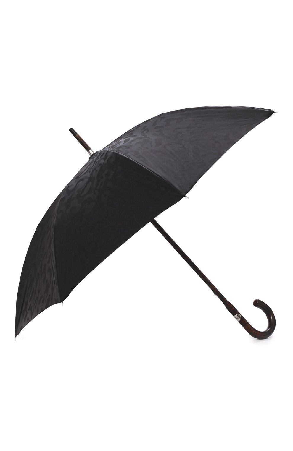 Мужской зонт-трость PASOTTI OMBRELLI черного цвета, арт. 142/MILITARE 11780/142/W00DEN CLASSIC HANDLE | Фото 2