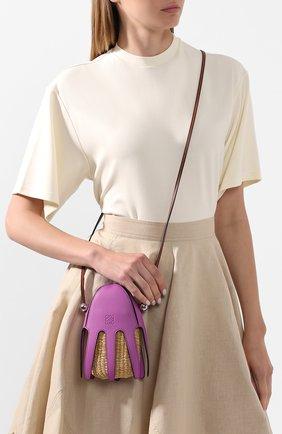 Женская сумка square basket loewe x paula's ibiza LOEWE фуксия цвета, арт. A623093X01   Фото 2
