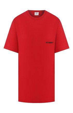 Женская хлопковая футболка VETEMENTS красного цвета, арт. UAH21TR501 1600/W | Фото 1
