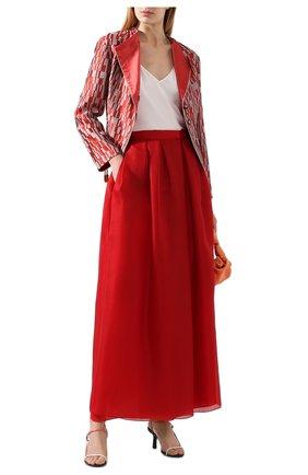 Женская юбка из шелка и хлопка GIORGIO ARMANI красного цвета, арт. 0SHNN03B/T01IB | Фото 2