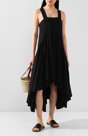 Женское платье из хлопка и льна loewe x paula's ibiza LOEWE черного цвета, арт. S616335X52 | Фото 2
