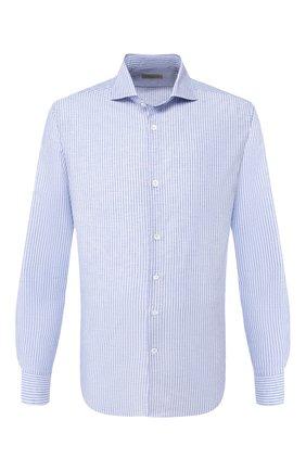 Мужская сорочка из хлопка и льна CORNELIANI синего цвета, арт. 85P002-0111616/00 | Фото 1