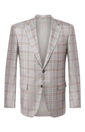 Мужской пиджак из шелка и кашемира CANALI светло-серого цвета, арт. T11280/CX01711 | Фото 1
