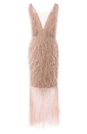 Женское платье с отделкой перьями MARCHESA золотого цвета, арт. M29821 | Фото 1