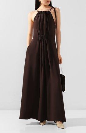 Женское шелковое платье GIORGIO ARMANI темно-коричневого цвета, арт. 0SHVA05W/T01S8 | Фото 2