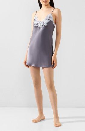 Женская шелковая сорочка LA PERLA серого цвета, арт. 0019227/W218   Фото 2