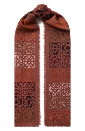 Женский шарф из шерсти и шелка LOEWE коричневого цвета, арт. F603253X01 | Фото 1