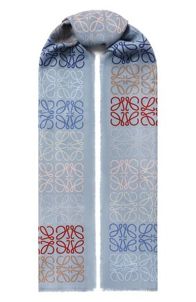 Женский шарф из шерсти и шелка LOEWE голубого цвета, арт. F603253X01 | Фото 1