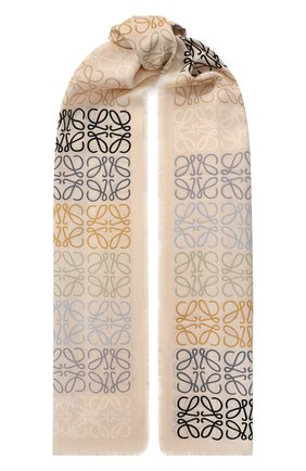 Женский шарф из шерсти и шелка LOEWE бежевого цвета, арт. F603253X01 | Фото 1