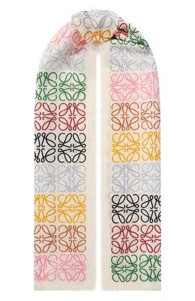 Женский шарф из шерсти и шелка LOEWE белого цвета, арт. F603253X01 | Фото 1 (Материал: Шерсть)