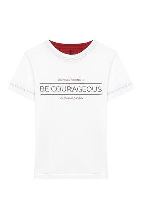Детская хлопковая футболка BRUNELLO CUCINELLI белого цвета, арт. B0B13T140B   Фото 1