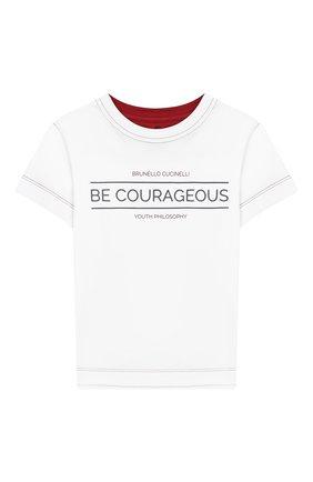 Детская хлопковая футболка BRUNELLO CUCINELLI белого цвета, арт. B0B13T140A   Фото 1
