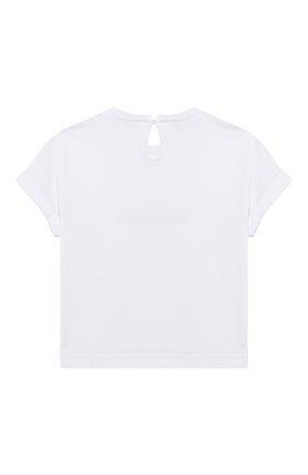 Детская хлопковая футболка BRUNELLO CUCINELLI белого цвета, арт. B0045T085A | Фото 2
