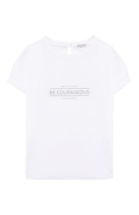 Детская хлопковая футболка BRUNELLO CUCINELLI белого цвета, арт. B0045T085B | Фото 1