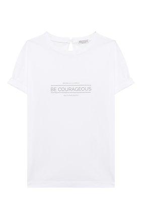 Детская хлопковая футболка BRUNELLO CUCINELLI белого цвета, арт. B0045T085C | Фото 1
