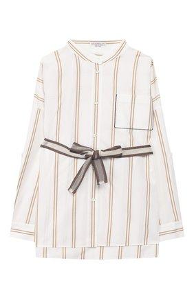 Детское хлопковая блузка с ремнем BRUNELLO CUCINELLI бежевого цвета, арт. BF767C820B | Фото 1