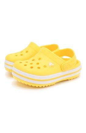 Детские сабо crocband clog k CROCS желтого цвета, арт. 204537-7C1 | Фото 1