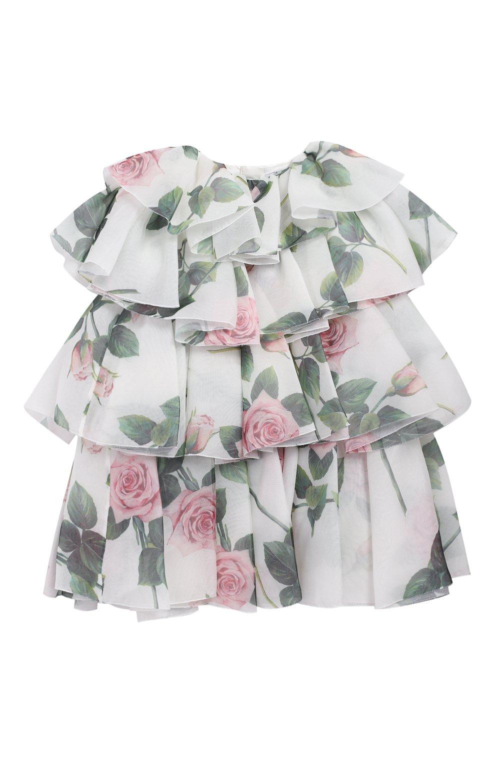 Детское шелковое платье DOLCE & GABBANA белого цвета, арт. L52DC2/IS1BD/2-6 | Фото 1 (Материал внешний: Шелк; Рукава: Короткие; Случай: Повседневный; Девочки Кросс-КТ: Платье-одежда; Материал подклада: Вискоза)