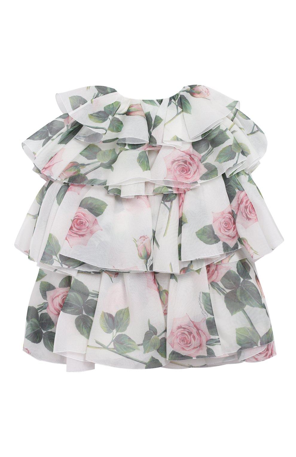 Детское шелковое платье DOLCE & GABBANA белого цвета, арт. L52DC2/IS1BD/2-6 | Фото 2 (Материал внешний: Шелк; Рукава: Короткие; Случай: Повседневный; Девочки Кросс-КТ: Платье-одежда; Материал подклада: Вискоза)