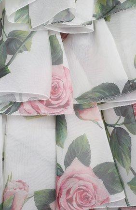 Детское шелковое платье DOLCE & GABBANA белого цвета, арт. L52DC2/IS1BD/2-6 | Фото 3 (Материал внешний: Шелк; Рукава: Короткие; Случай: Повседневный; Девочки Кросс-КТ: Платье-одежда; Материал подклада: Вискоза)