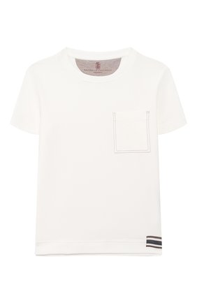 Детская хлопковая футболка BRUNELLO CUCINELLI белого цвета, арт. B0B13T170B   Фото 1