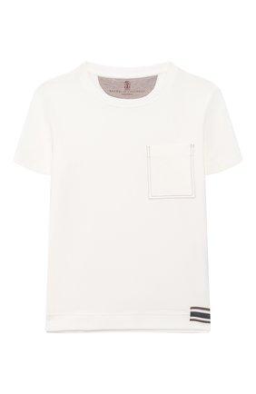 Детская хлопковая футболка BRUNELLO CUCINELLI белого цвета, арт. B0B13T170A   Фото 1