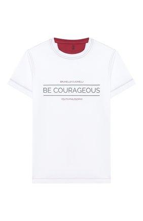 Детская хлопковая футболка BRUNELLO CUCINELLI белого цвета, арт. B0B13T140C   Фото 1