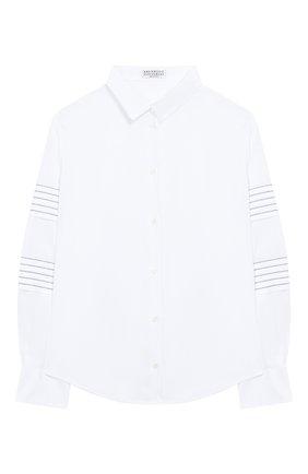 Детское хлопковая блузка BRUNELLO CUCINELLI белого цвета, арт. B0091C810B | Фото 1