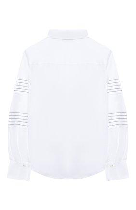 Детское хлопковая блузка BRUNELLO CUCINELLI белого цвета, арт. B0091C810A | Фото 2