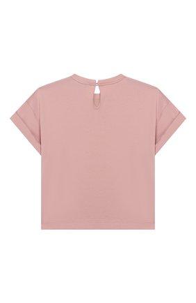 Детская хлопковая футболка BRUNELLO CUCINELLI розового цвета, арт. B0045T010B | Фото 2