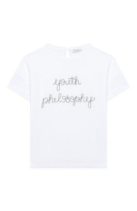 Детская хлопковая футболка BRUNELLO CUCINELLI белого цвета, арт. B0045T010A | Фото 1