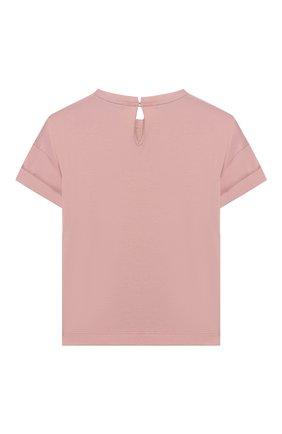 Детская хлопковая футболка BRUNELLO CUCINELLI розового цвета, арт. B0045T010A | Фото 2