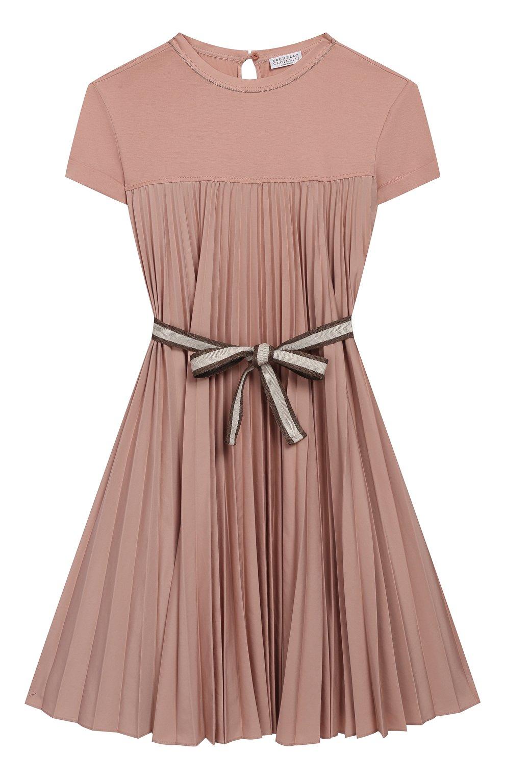 Детское хлопковое платье с поясом BRUNELLO CUCINELLI розового цвета, арт. B0045A010C   Фото 1 (Рукава: Короткие; Случай: Повседневный; Материал внешний: Хлопок; Девочки Кросс-КТ: Платье-одежда)